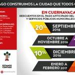 Descuentos en el pago anticipado del Predial y Servicios Públicos Municipales del año 2017. #Cuernavaca https://t.co/HDOeBMnzZd