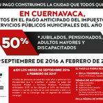 Descuentos en el pago anticipado del Predial y Servicios Públicos Municipales del año 2017. #Cuernavaca https://t.co/FW7wX8i6NA