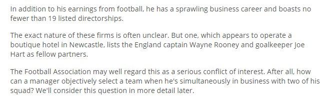 Sam Allardyce partnered a company with England players he was meant to select?...whaaaat?! Fascinating from the Mail https://t.co/cBcLj5tlrn
