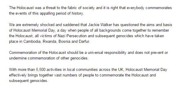 Our statement on the remarks of Jackie Walker about Holocaust Memorial Day: https://t.co/FpBUld768t https://t.co/pjyPzkQVvy