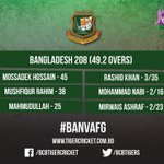 BCBtigers: Innings Break: Bangladesh 208/10 (49.2 Overs) Have Bangladesh got enough to get their 100th ODI win?  #… https://t.co/iKSFkdtjOs