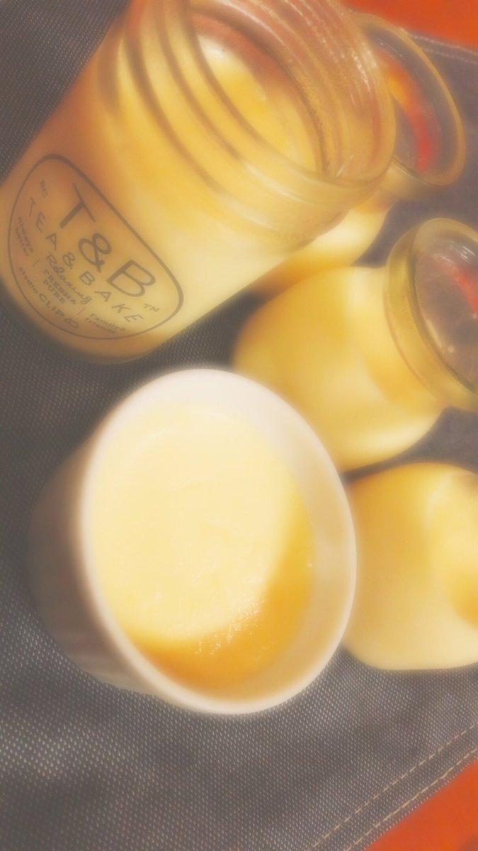 牛乳使わないとってことで プリンを作ったのだよ🍮  カラメル苦い…🙄  最後の顔みたいでしょ⇨( ´_>` )ハッハッハッ