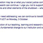 UCT VC Dr Max Prices plea to reopen UCT on Monday, 3 October #Fees2017 https://t.co/dbgsehw0wq