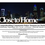 """Close to Home"" panel discussion dealing with issues in Charlotte is happening today at 5pm. https://t.co/a7MJKuGMh0"
