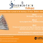 EVENT: @UOSurreyBC are holding a Badmin-thon on Sun 9 Oct! Get involved, play some badminton and support a fantastic local charity! https://t.co/3XzR7YGWfW