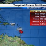 Tropical Storm Matthew forms in the Windward Islands, 13th named storm of the Atlantic Hurricane Season #Tropics https://t.co/DnKyzBbJw5