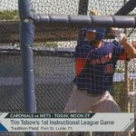 Tim Tebow is starting in Left Field and batting 2nd today in Port St. Lucie #fox35 https://t.co/KuRWLPvRRF
