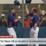 Tim Tebow just hit a home run on the first pitch he faced in his first instructional league game.  That really happened. https://t.co/0bXIMxhucW