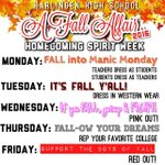 Attention Students!!  Starting next week show your school Spirit & dress up during our Fall Affair!! https://t.co/yo2UaGxtIC