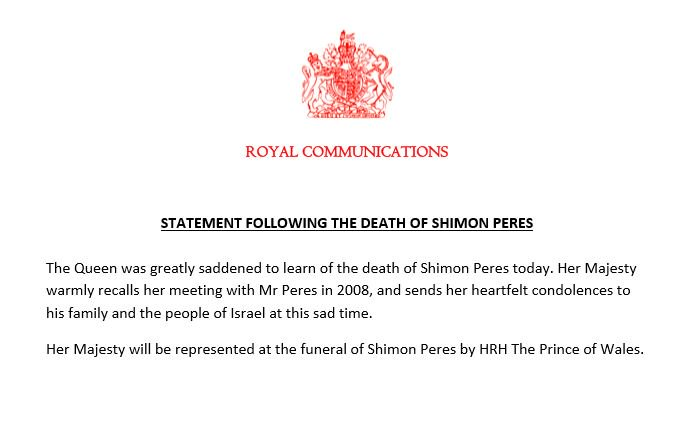 Statement following the death of President Peres https://t.co/77P7mRfYbL