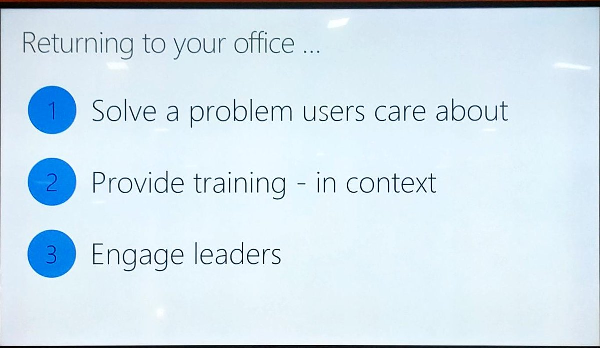 Here are @susanhanley's three tips for end user adoption! #msignite https://t.co/LLHHZ29hcU