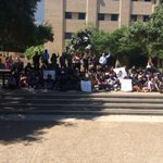 "BlackTXST staging a ""die-in"" in response to California shooting of an unarmed black man. #TXST https://t.co/wgQ2Z6iL01"