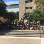 A silent #BlackLivesMatter protest is happening right now on the #quad by the #stallions #TXST #SMTX https://t.co/rHcQ1tLMtO
