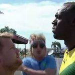 James Corden races Olympic gold medallist Usain Bolt