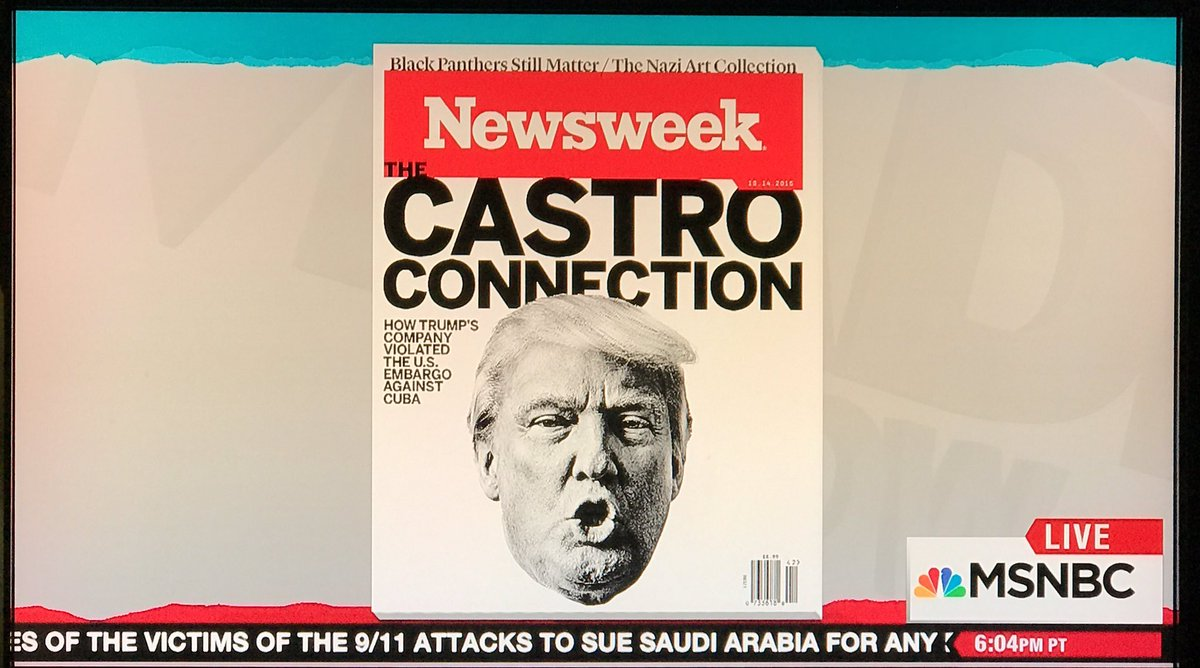 According to @maddow @MSNBC , this is the cover story in this week's @Newsweek. #Trump #Cuba #Castro https://t.co/L8NgdpIpJQ