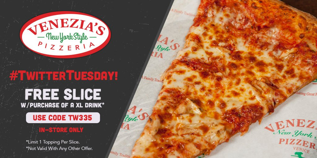 It's #TWITTERTUESDAY again! Get a FREE SLICE w/ purch of an XL drink w/ code TW335!