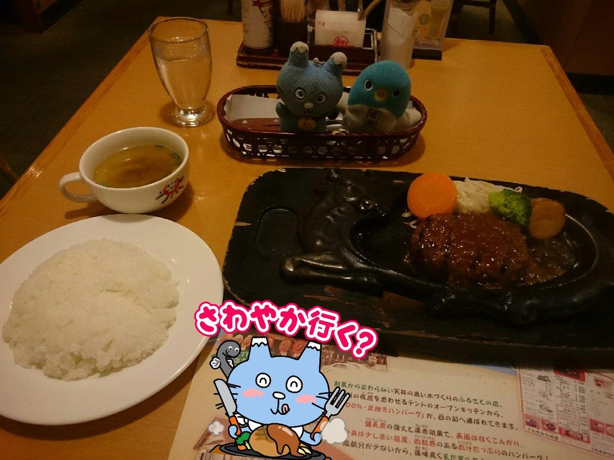 静岡鉄道ちびまる子ちゃんラッピング電車乗ったあとに、炭焼きレストランさわやかでランチです。 #しずなび