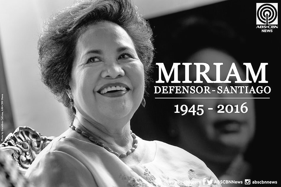 Thank you for everything Sen. Miriam Santiago. You gave such a good fight. Now we know why the sky is crying. https://t.co/FfGPvOw79F