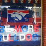 Support for the @westernbulldogs in Geelong couldnt be greater, as this shop front window shows #bemorebulldog https://t.co/dtJJOIpOju