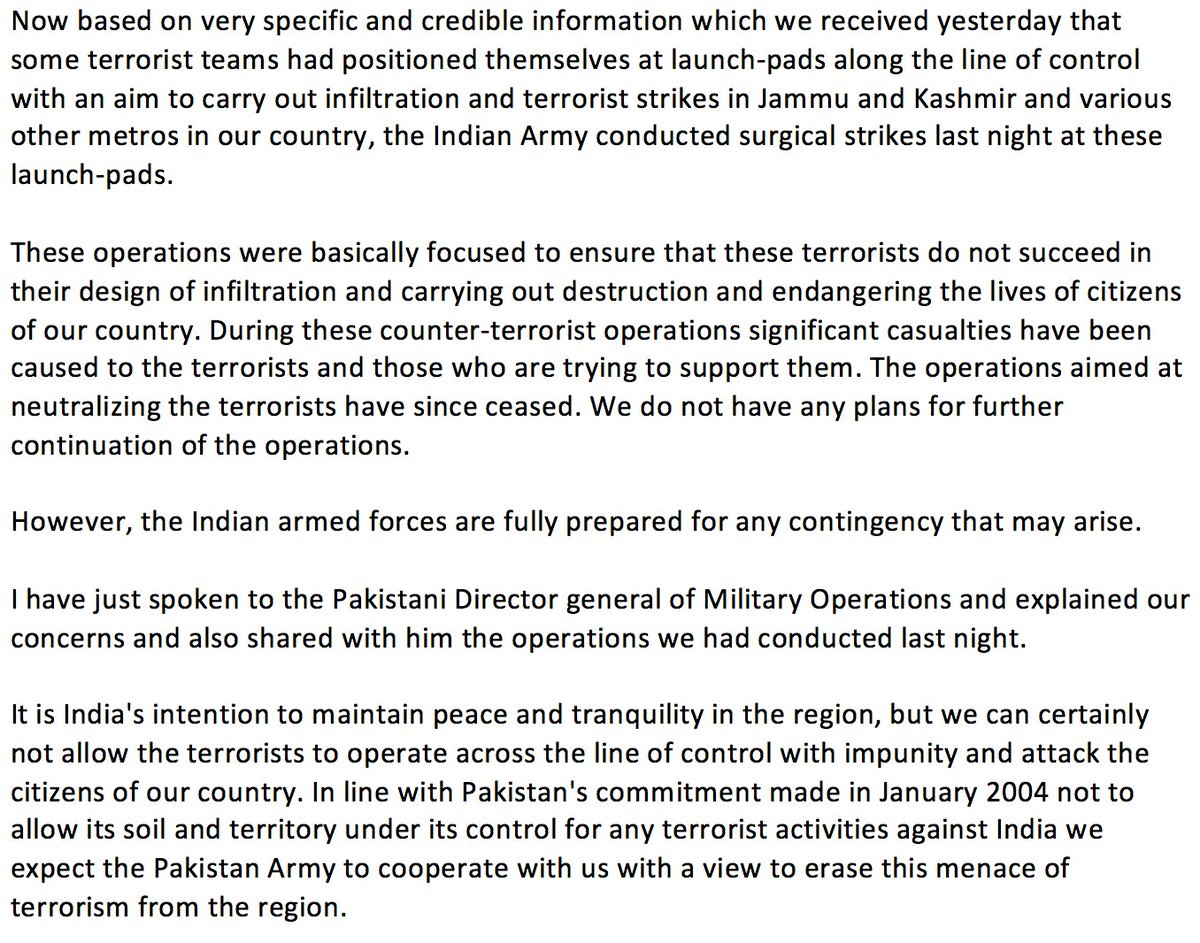 Relevant text of @adgpi DGMO statement on strikes conducted on LoC launch-pads last night. FYI, @ISPR_Official https://t.co/haCTNcQWVT