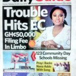 DAILY GUIDE: Trouble hits EC..GH50,000 filing fee in limbo **** Praye backs @NAkufoAddo with song #MorningStarr https://t.co/rDd98nLe6j