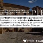 Mañana viernes 30 de septiembre de 2016 la Diputación celebra Pleno en sesión ordinaria. Uno de los puntos a tratar: https://t.co/B2Xm6fXQHr