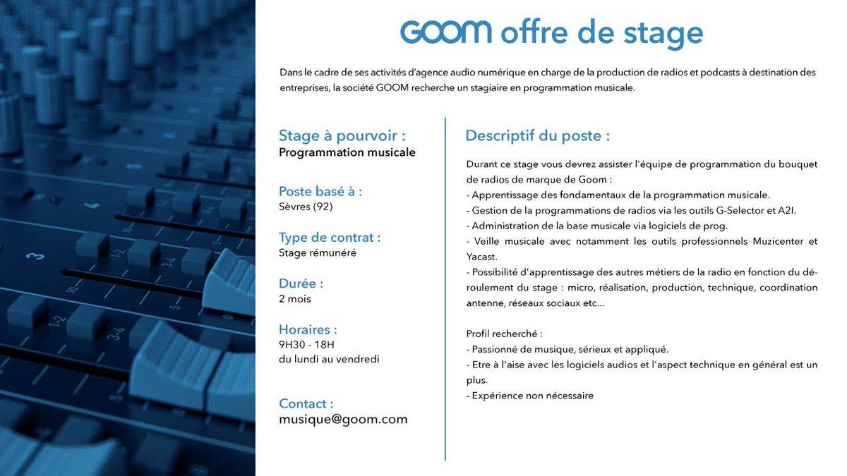 Offre de stage rémunéré en programmation musicale : musique@goom.com  Merci de RT ! https://t.co/HZY3SbLjzg