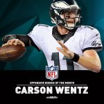 Congrats to @cj_wentz, NFL Offensive Rookie of the Month for September!  #FlyEaglesFly https://t.co/7gIqoQh9Jp