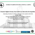 Join us for a George Washington Educational Campus Tenants' Rights Forum, Saturday, October 15 from 10am-1pm. https://t.co/1bxfLOnmbE