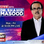 Watch Live With Dr Shahid Masood Tonight at 10:05 PM @Shahidmasooddr #ARYNews https://t.co/1zLX78rhDY