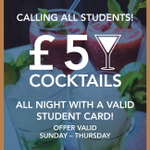 £5 cocktails when you show your #student card! #SheffieldFreshers #sheffieldissuper #cocktails #Sheffield https://t.co/Jz9xlwJckx