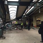 Massive train crash at #Hoboken Path Station. Injuries reported. Train apparently ran full force into station. https://t.co/rgt9pycnL4