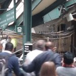 Unbelievable scene in Hoboken right now. Train crashed and went straight through the platform into the station. https://t.co/NK2GDkkQA6