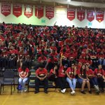 Seniors start the day off right with unity in a sea of red. Can you spot the Banana? Can you spot yourself? #itsL17 https://t.co/axAIlk9d4L