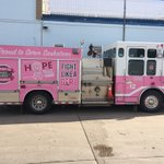 Here it is!! #Saskatoons 1st pink fire truck. #BreastCancerAwareness @IAFF80 @SaskatoonFire https://t.co/hEqY9xzMQU