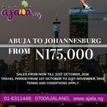 Travelling from Abuja -Johannesburg - Abuja? Get return ticket to fly via South African A… https://t.co/pxTe5C3Bgd https://t.co/4bbTQyp8jD
