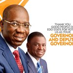 Todays victory belongs to the entire people of Edo State, together we will build a better and more prosperous Edo State. #NaGodwinEdo2016 https://t.co/05BWRjotc7