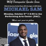 "Welcome @MichaelSam52 to the PAC on Oct. 3rd! He will be presenting his speech ""From Hitchcock High to NFL."" @msgLakers https://t.co/IlYiqRojHh"