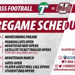Ready for #UMassHomecoming16 and #TUvsUM on Saturday? Heres the days schedule! #UniteTheMasses https://t.co/vEwKBVly5s