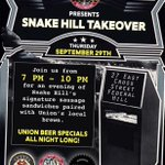 Stop By.. Snake Hill Takeover Tonight w/ @UnionBrewing Specials All Eve 🍻 @BoilerRoomBmore #FederalHill #Baltimore https://t.co/KIybwZyXYh