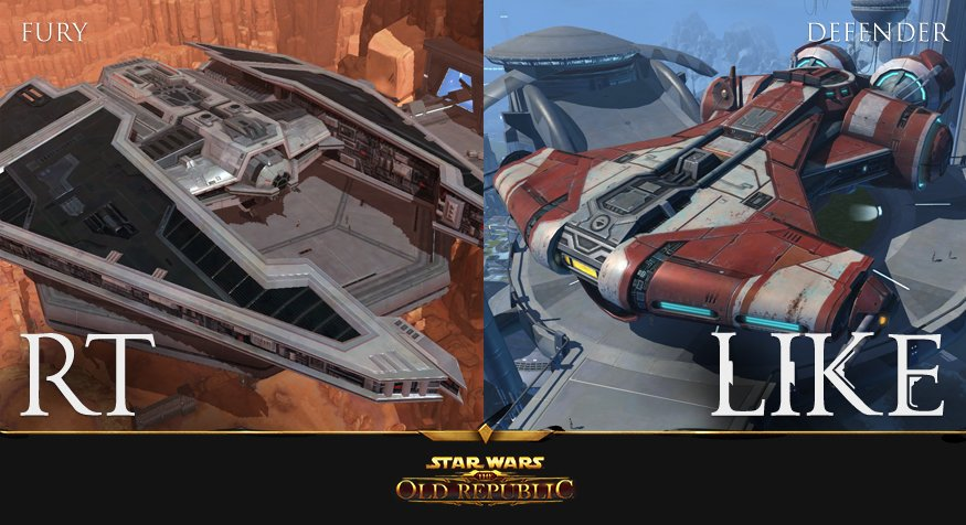 Which Starship is your personal favorite: the Sith's Fury, or the Jedi's Defender?  RT: Fury LIKE: Defender https://t.co/Vsd1jkkoVW