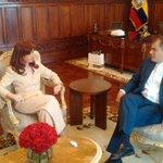 Presidente @MashiRafael recibe a @CFKArgentina, expresidenta de #Argentina en el Palacio de #Carondelet https://t.co/CuJ99ebxnS