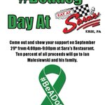 #BeADog Day at Saras today! From 4pm-9pm 10% of all proceeds will go to the Ian Fund! #PrayersforIan https://t.co/qJHvy3buRY