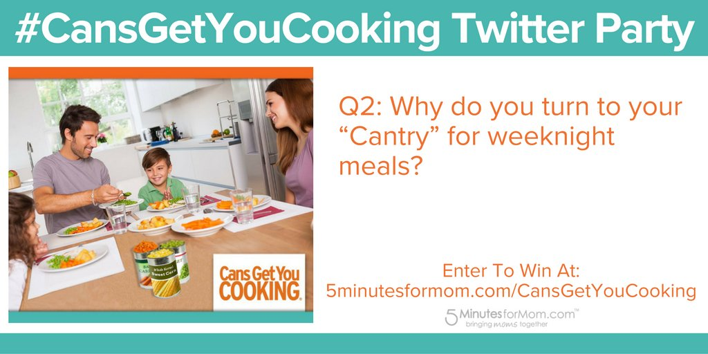 "Q2: Why do you turn to your ""Cantry"" for weeknight meals? #CansGetYouCooking #ad https://t.co/simi4DXVIQ"