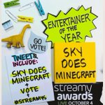 If you're in the Sky Army, help win this award for Minecraft. To vote, RT this or send your own with vote + Sky Does Minecraft + #streamys. https://t.co/tEeRXJ7MV1