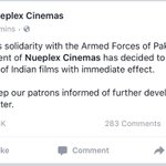 Well-done @NueplexCinemas #WellDonePakArmy #SaluteToTheArmy #BanAllIndianProducts https://t.co/3pQNxKtYcm