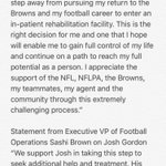 The #Browns just announced that WR Josh Gordon is stepping away to enter rehab. Full statements: https://t.co/kynDnWQShk