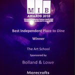 And we won, a huge thank you @MIBAwards #BestPlaceToDine #MIB16 https://t.co/WATNJQDBO1