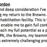 Statement from Josh Gordon on his decision to enter an in-patient rehabilitation facility. (via @Browns) https://t.co/vlIsEO0qEK