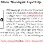 "ZDFneo zeigt falsche ""Neo Magazin Royal""-Folge. https://t.co/4R5TNkIfju #CDUlala https://t.co/McdhF7mauz"